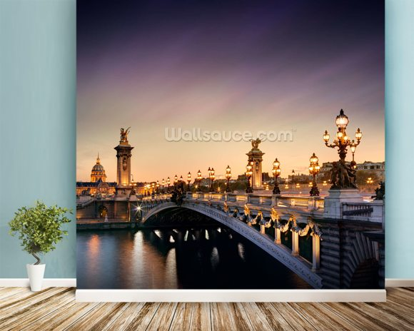 Pont Alexandre III, Paris mural wallpaper room setting