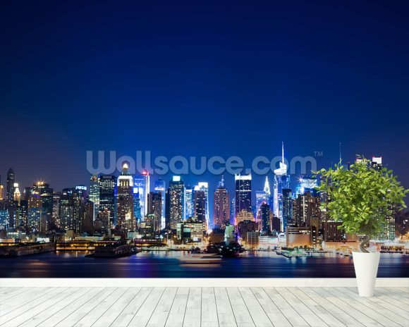 Manhattan Night Skyline mural wallpaper room setting