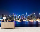 Manhattan Night Skyline mural wallpaper living room preview