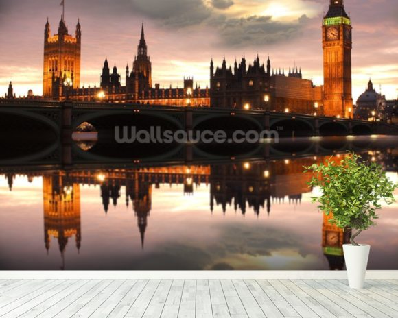 Houses of Parliament Reflection wall mural room setting
