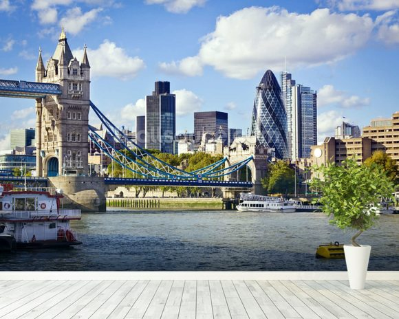 River Thames wallpaper mural room setting