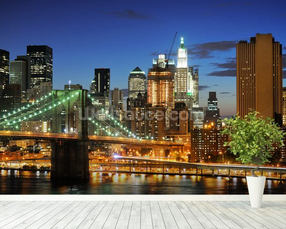 Sunset Brooklyn Bridge wall mural room setting
