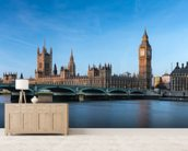 London Houses of Parliament mural wallpaper living room preview