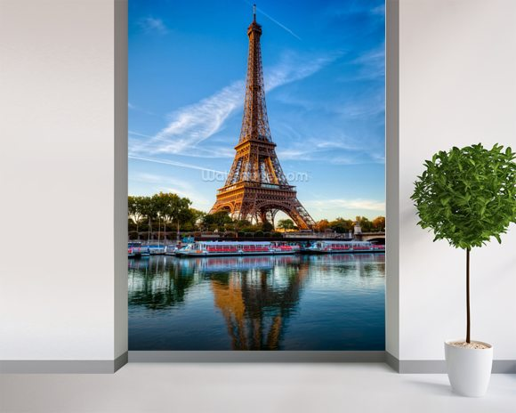 Eiffel Tower Reflection wall mural room setting