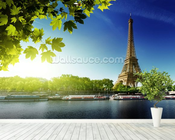 River Seine wallpaper mural room setting
