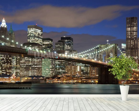 NY Brooklyn Bridge wallpaper mural room setting