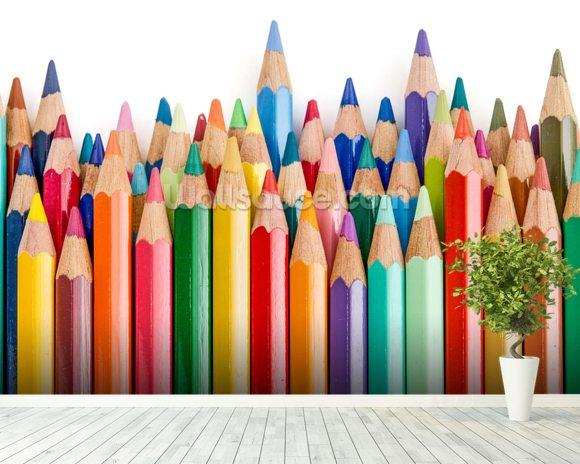 pencil crayons wallpaper wall mural wallsauce usa. Black Bedroom Furniture Sets. Home Design Ideas