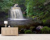 West Burton Waterfall mural wallpaper living room preview