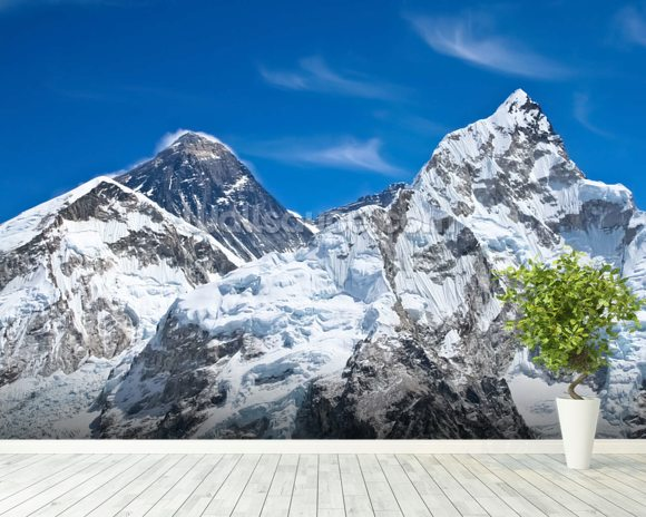 Everest and Lhotse mountain peaks view from Kala Pattar, Nepal mural wallpaper room setting