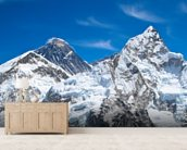 Everest and Lhotse mountain peaks view from Kala Pattar, Nepal mural wallpaper living room preview