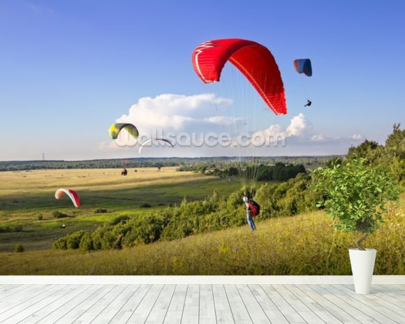 Multiple paragliders soar in the air amid wondrous landscape wallpaper mural room setting