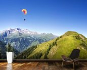 Mountain panorama with paraglider mural wallpaper kitchen preview