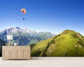 Mountain panorama with paraglider mural wallpaper living room preview