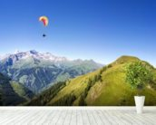 Mountain panorama with paraglider mural wallpaper in-room view