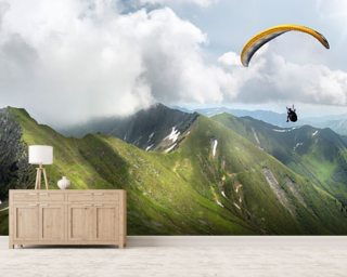 Paraglider in the Mountains wall mural