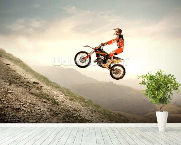 Motocross wallpaper mural room setting