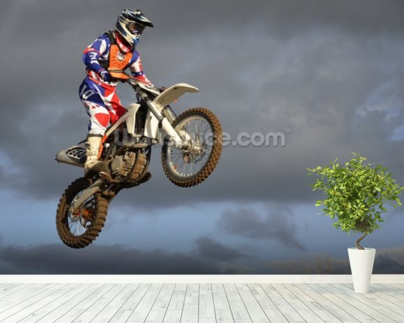 The spectacular jump moto racer on a motorcycle wall mural room setting
