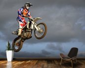 The spectacular jump moto racer on a motorcycle wall mural kitchen preview