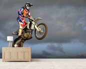 The spectacular jump moto racer on a motorcycle wall mural living room preview