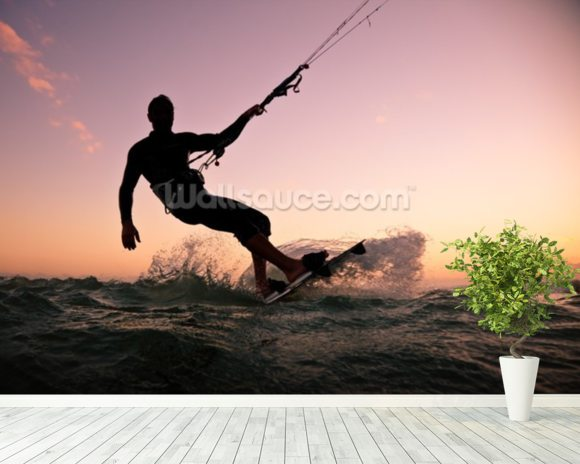 Kite boarding. Kitesurf freestyle wallpaper mural room setting