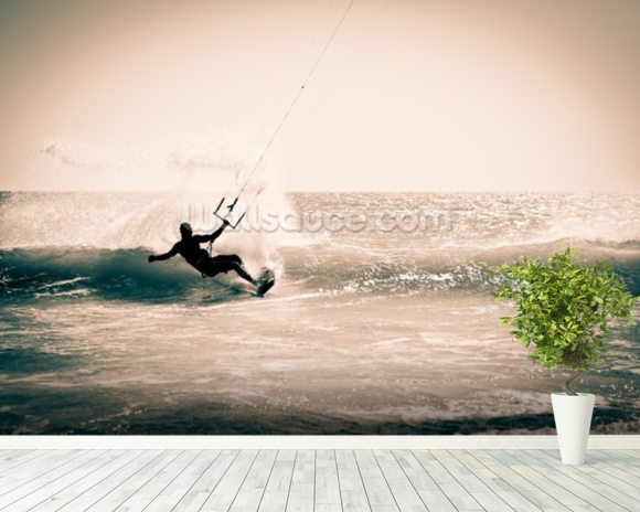 Kitesurfing in Andalusia, Spain. wall mural room setting