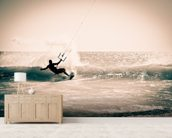 Kitesurfing in Andalusia, Spain. wall mural living room preview