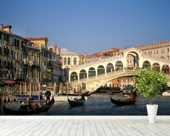 Venice Rialto Bridge mural wallpaper room setting