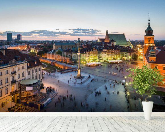 Warsaw Old Town Sunset wallpaper mural room setting