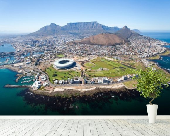 Cape Town Ariel View mural wallpaper room setting