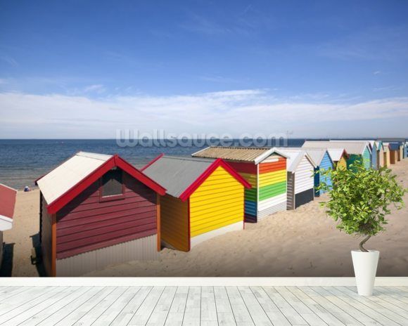 Melbourne Beach Boxes mural wallpaper room setting