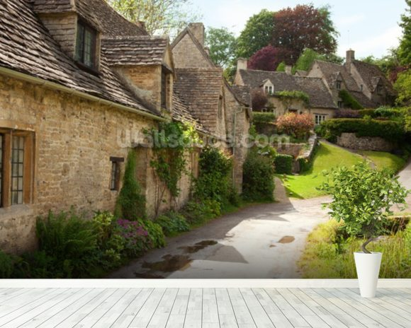 English Cotswold Cottages wall mural room setting
