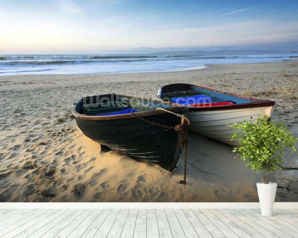 Fishing Boats on the Beach mural wallpaper room setting