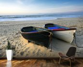 Fishing Boats on the Beach mural wallpaper kitchen preview