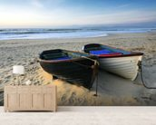 Fishing Boats on the Beach mural wallpaper living room preview