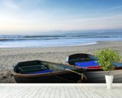 Fishing Boats on the Beach mural wallpaper in-room view