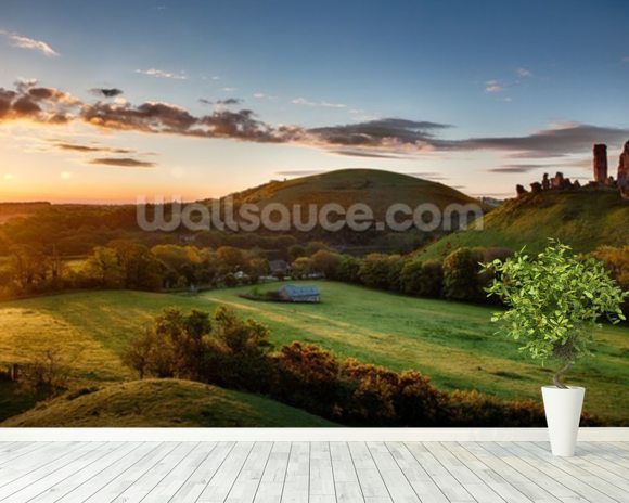 Corfe Castle Sunrise wall mural room setting