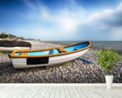 Boats at Budleigh Salterton wallpaper mural in-room view