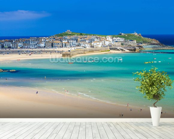 St Ives Beach mural wallpaper room setting