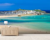 St Ives Beach mural wallpaper living room preview