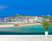 St Ives Beach mural wallpaper in-room view