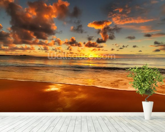 Colourful Australian Sunset mural wallpaper room setting