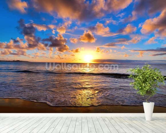 Horizon Sunset wall mural room setting
