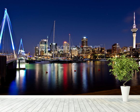 Auckland Nightime wallpaper mural room setting