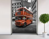 London Bus Colourwash mural wallpaper in-room view