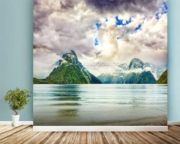 Milford Sound wallpaper mural room setting
