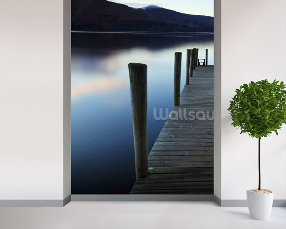 Evening light on ashness pier wallpaper wall mural for Mural lighting