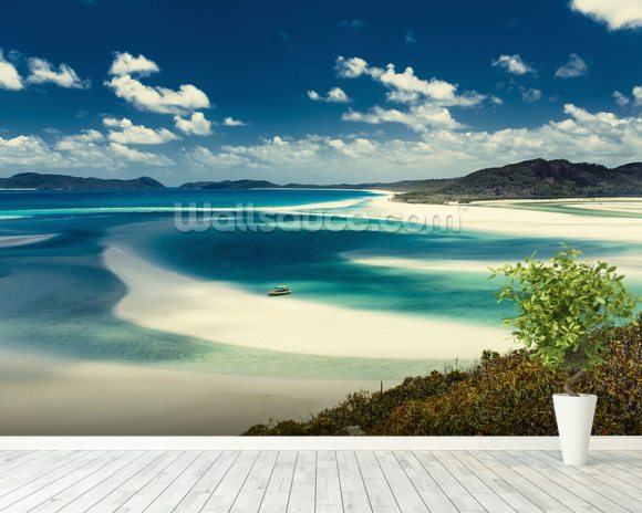 Whitehaven Beach, Australia mural wallpaper room setting