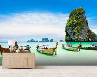 Longtail Boats, Thailand Wall Mural Wall Murals Wallpaper