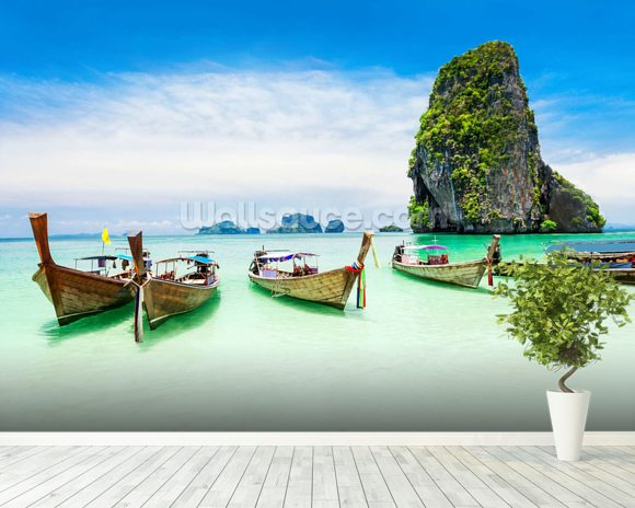 Longtail Boats, Thailand wall mural room setting
