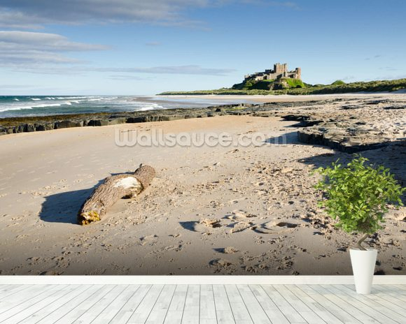 Bamburgh Castle mural wallpaper room setting